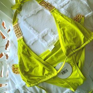 L*Space neon green gold chains bikini